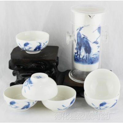 供应陶瓷茶具 青花露栖展示盒茶具 青花瓷功夫茶具礼品套装