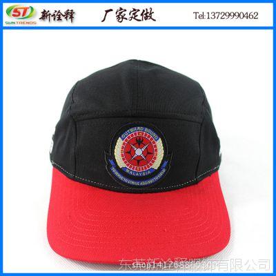 新款秋冬帽子 前页logo刺绣平沿五片帽 情侣拼色平板五片棒球帽