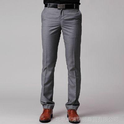 男士休闲西裤 男装韩版修身长裤 英伦小脚商务休闲西装裤秋装