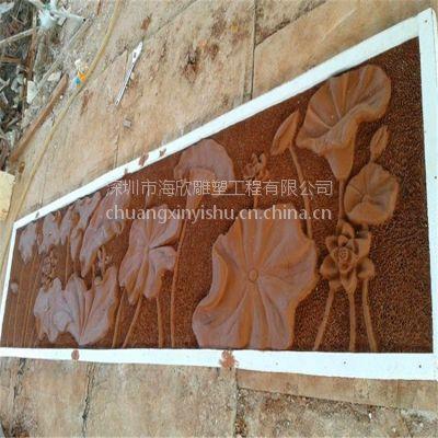玻璃钢荷花水上植物浮雕 家居客厅装饰背景墙砂岩梅花荷花景观浮雕厂家