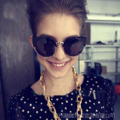 猫眼太阳镜女款潮圆形复古墨镜半框欧美圆框时尚vintage太阳眼镜