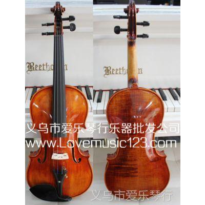 供应手工小提琴 高档虎纹小提琴 乌木配件 4/4 3/4 1/2 1/4 乐器批发