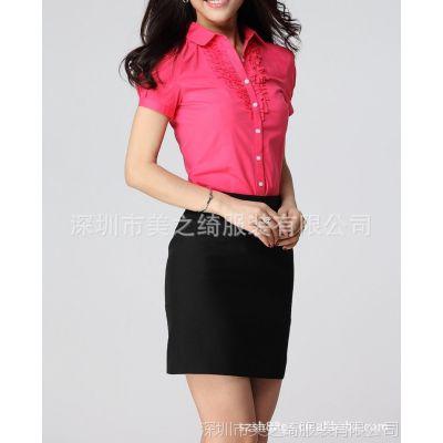 供应女式短袖修身韩版衬衣、女式衬衫、短袖衬衫、女式上装