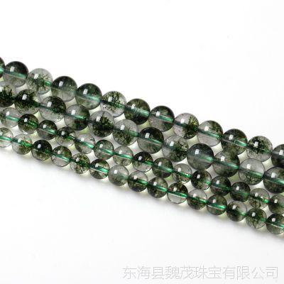 DIY手工饰品圆珠配件 绿爆花水晶半成品串手链串珠散珠子批发