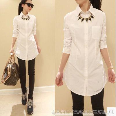 新款女装韩国东大门代购女衬衫气质长袖打底衬衫女纯棉长袖白衬衫