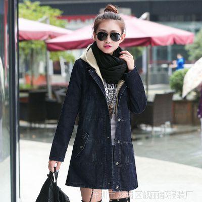 2014秋装新款中长款宽松牛仔外套女装韩版长袖女式风衣女大码上衣