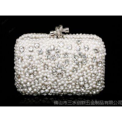 2014新款珍珠晚宴包 明星同款珠绣包手拿包夜店包 钉珠晚宴包