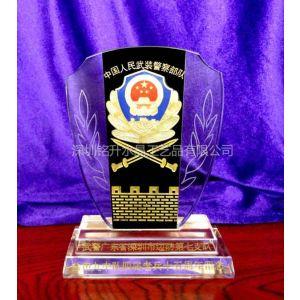 供应深圳边防部队水晶纪念品、退伍纪念奖牌、深圳奖杯厂家、北京水晶奖杯