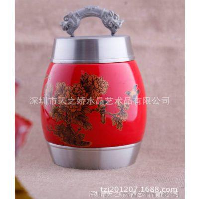 供应锡瓷花开富贵,一路连升茶叶罐,中国文化艺术品家居摆件