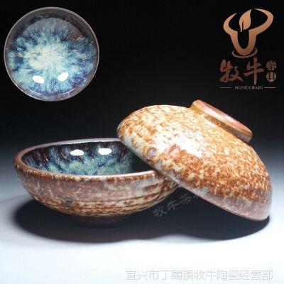 仿日式粗陶茶杯 宜兴紫砂品茗杯 烟花蓝80毫升 礼品套装定制混批