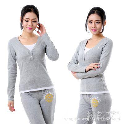 批发新款女装长袖小衫 假两件套V领配圆领t恤 女士套头棉小衫8802
