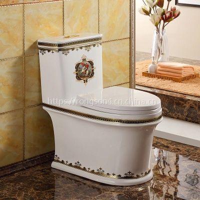 卫生间4D连体高档金色陶瓷马桶座便器