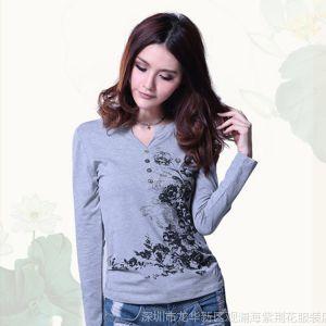 供应2013女装秋装中国民族风长袖大码T恤 水墨印花V领长袖大码T打底衫