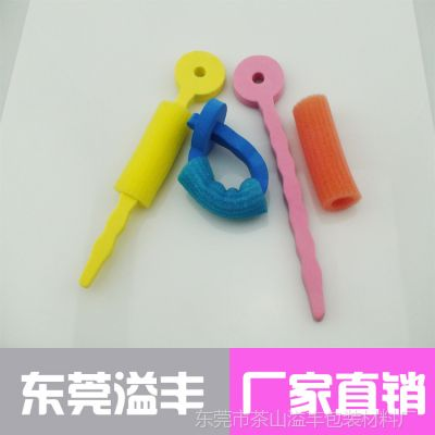 东莞厂家直供 三色海绵卷发器卷发用品 彩色环保材料制作不伤发
