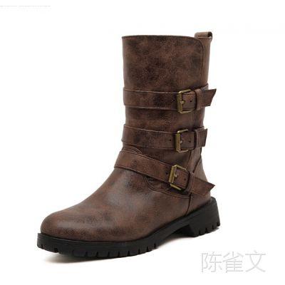 2014秋冬新款 欧美复古两穿个性皮扣圆头低跟女靴 骑士靴 中筒靴