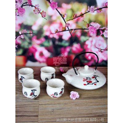 茶具礼品套装/批发陶瓷茶具/麻釉红梅扁壶五件套茶具CW38麻釉红梅