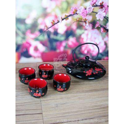 茶具礼品套装/批发陶瓷茶具/黑釉红梅五件套茶具 CW38黑釉红梅