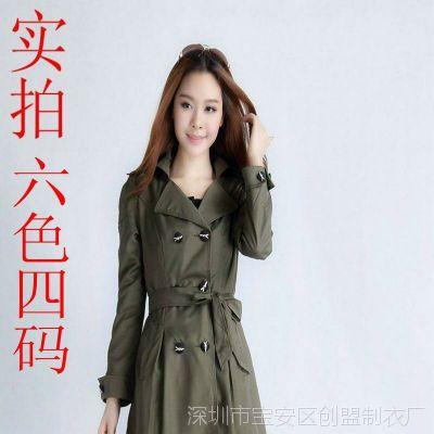 实拍 秋装新款  韩版修身蕾丝中长款女风衣  甜美OL气质外套