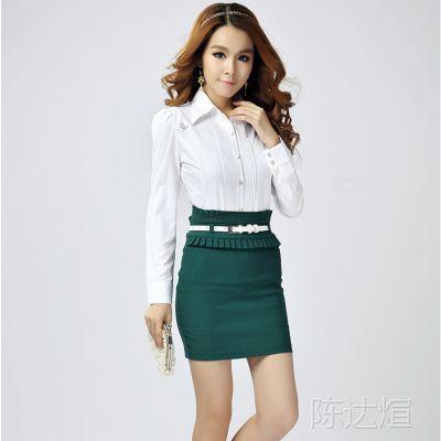 2014新款全棉女士衬衣品牌修身通勤OL 职业装衬衫 一件代发免费