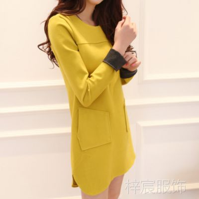 新款韩国代购同款A字打底毛呢修身大码秋装包臀连衣裙女裙子