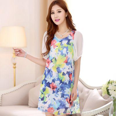 爆款 胖M2014夏季新款女装韩国印花胖妹妹大码高端真丝连衣裙大牌