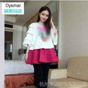 供应Dysmar2014春季新款韩版大码雪纺衫 花瓣七分袖宽松打底衫女批发