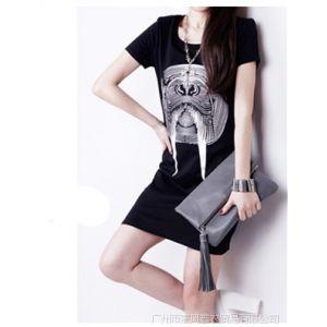 供应2014年新款春装欧美印花短袖中长款包臀打底衫