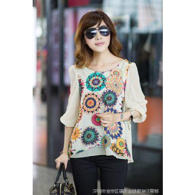 2014韩版宽松显瘦大码女装 印花短袖女式雪纺衫上衣