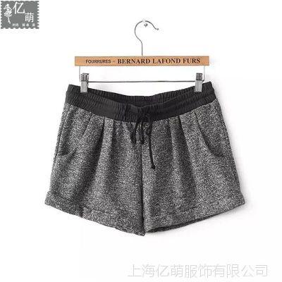2014秋冬新款 欧美百搭松紧腰系带女式休闲冬季短裤6034