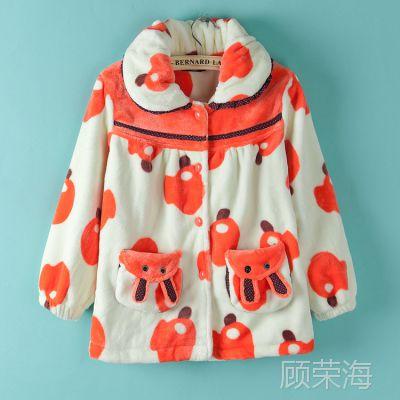 童装!H2儿童睡衣套装女童保暖法兰绒睡衣卡通加厚家居服  0.75kg