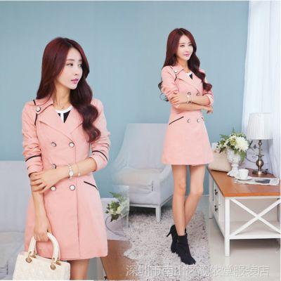 2014秋冬款韩版修身女装 双排扣中长款女风衣显瘦长袖休闲外套潮