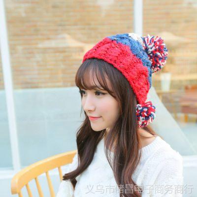 韩版淑女秋冬新款成人帽 女百搭球球毛线帽 彩球针织帽保暖帽