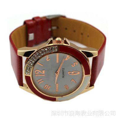 创意个性女生手表 时尚欧美时装休闲手表 简约镶钻真皮带女款手表