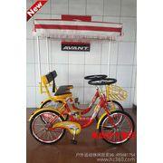 供应奥威特联排双人车 双人自行车 并排双人车 带蓬方向盘双人车观光自行车
