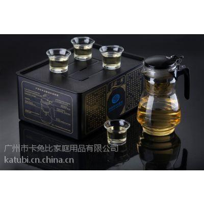 高档精品幸福一家00A6玻璃茶具套装5件套1壶4杯厂家批发可定制