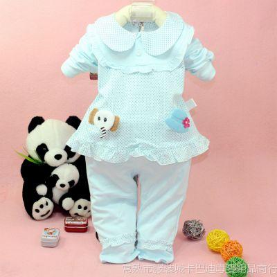 童套装热销 多智彩3038 可爱点小象帽子套装 韩版时尚女童外出服