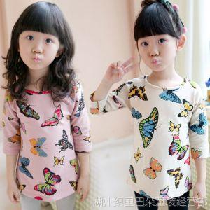 供应春装2014新款 韩版儿童女装 七彩蝴蝶儿童T恤打底衫 中长款