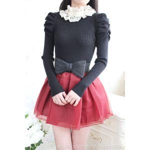 供应秋冬女装韩国名媛公主风雪纺蕾丝立领长袖针织衫打底衫Y205