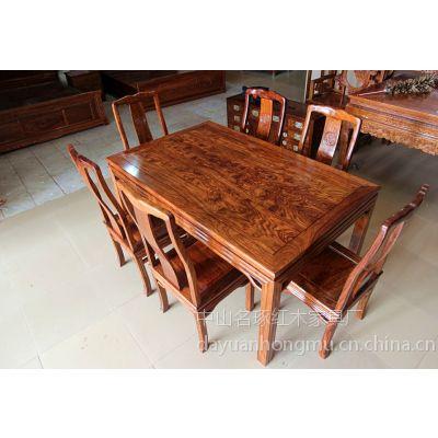 供应居然之家实木餐桌7件套价格,名琢世家红木家具