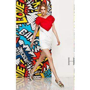 供应2014年春夏新款 欧美大牌红白撞色V领修身真丝连衣裙 一件代发