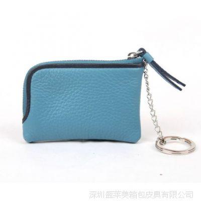 深圳皮具厂家牛皮拉链零钱包 女式真皮钥匙包 男式散钱包 硬币包