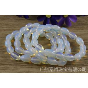 供应【抄底价】蛋白石手链 新款米珠形半宝石 国产月光石手链