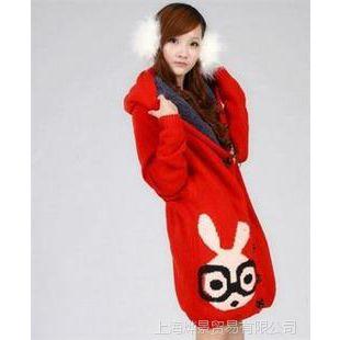 秋冬装韩版孕妇装新大码女装款卡通兔开衫外套加厚加绒长款毛衣
