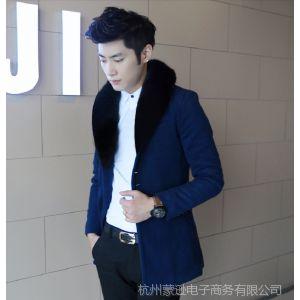 供应蒙逊修身韩版  男式休闲修身毛呢大衣   蒙逊服装批发