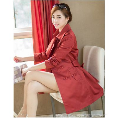 春秋新款韩版大码女装外套修身双排扣中长款风衣女大衣