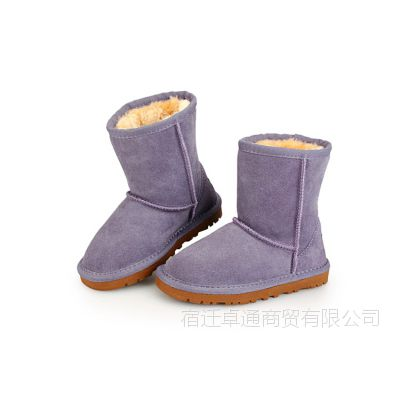 2014冬款儿童雪地靴纯色韩版时尚男童女童中童棉鞋韩国童鞋批发