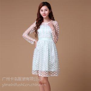 供应比特芙妮 春夏款显气质OL长袖波点连衣裙雪纺蕾丝袖