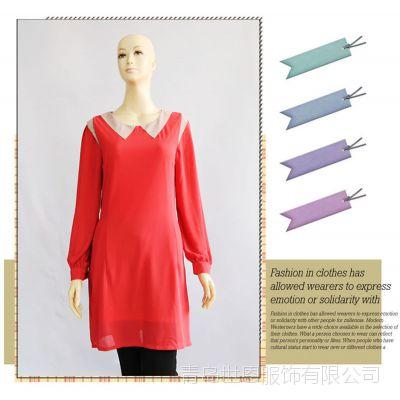 14年秋季新品女装 撞色假领长袖红色雪纺系带修身连衣裙