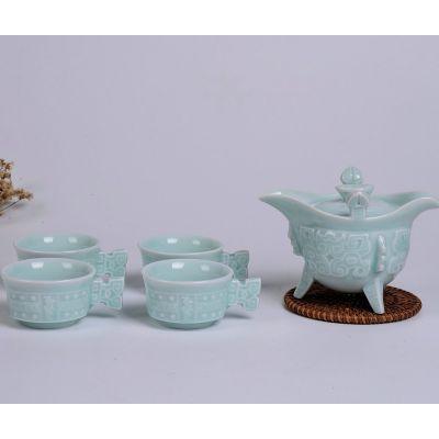 供应德宏昌青瓷陶瓷套组 汉道壶5入茶具套组 龙泉青瓷 陶瓷茶具