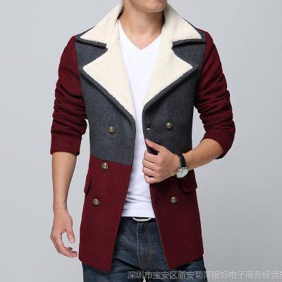 供应批发1件代发男装 冬装外套 韩版中长款男式个性羊毛妮子大衣